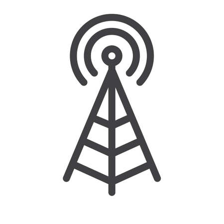 Antenna line icon, outline vector sign, linear style pictogram isolated on white. Symbol, logo illustration. Editable stroke.Pixel perfect graphics