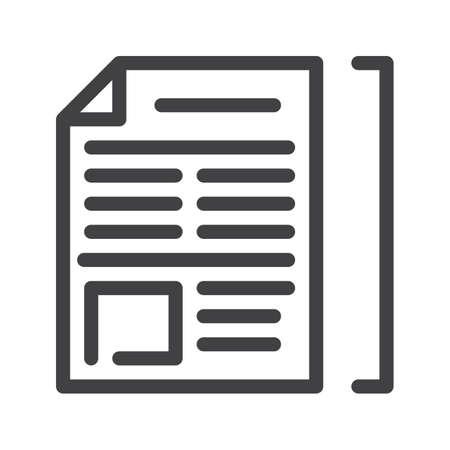 記事ラインアイコン、アウトラインベクトル記号、線形スタイルのピクトグラムを白で分離。シンボル、ロゴイラスト。編集可能なストローク。ピ