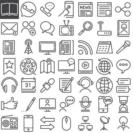 통신 미디어 라인 아이콘을 설정, 개요 벡터 기호 컬렉션, 선형 스타일 픽토그램 팩. 표지판, 로고 그림입니다. 뉴스, 이메일, 안테나, 헤드폰, 언론인으 일러스트