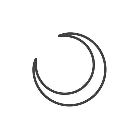 Crescent moon line icon, linear style pictogram isolated on white.