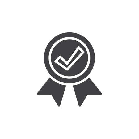 seal of approval: Medal with check mark icon vector, filled flat sign, solid pictogram isolated on white. Guarantee symbol,  illustration. Pixel perfect vector graphics