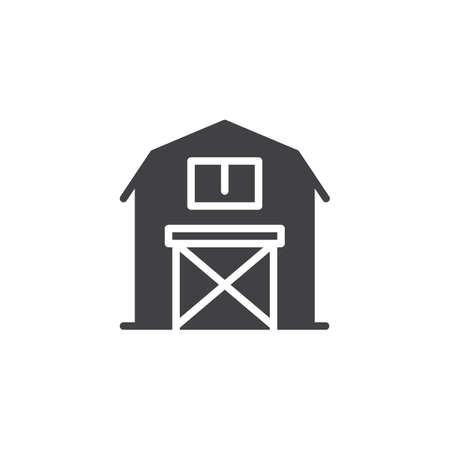 house logo: Barn icon vector, filled flat sign, solid pictogram isolated on white. Symbol, logo illustration