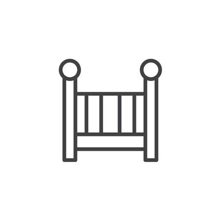 Crib line icon, outline vector sign, linear style pictogram isolated on white. Symbol, illustration. Editable stroke