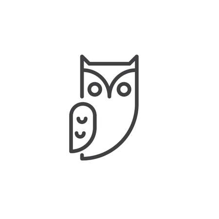 Owl bird line icon, outline vector sign, linear style pictogram isolated on white. Halloween holiday Symbol, logo illustration. Editable stroke