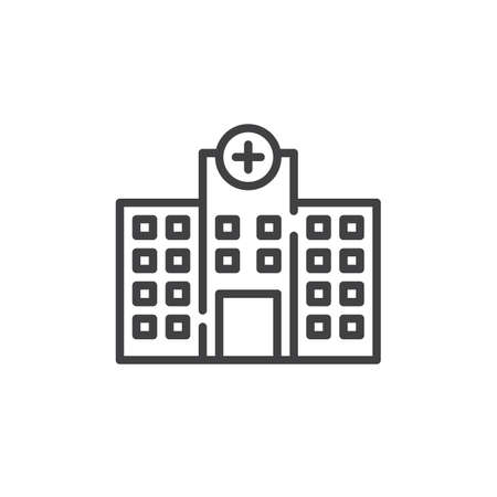 Hospital building line icon, outline vector sign, linear style pictogram isolated on white. Symbol, logo illustration. Editable stroke