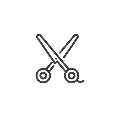 salon: Scissors line icon, outline vector sign, linear style pictogram isolated on white. Symbol, illustration. Editable stroke