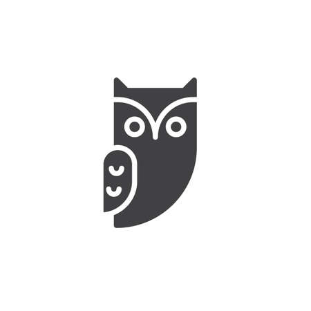 Owl icon vector, filled flat sign, solid pictogram isolated on white. Halloween holiday Symbol, logo illustration.