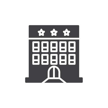 Hotel building icon vector, filled flat sign, solid pictogram isolated on white. Symbol, logo illustration.