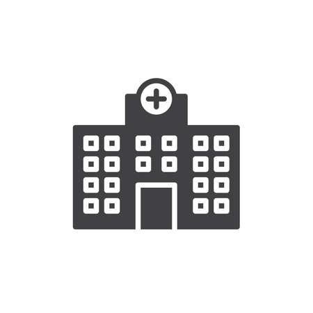 Hospital building icon vector, filled flat sign, solid pictogram isolated on white. Symbol, logo illustration. Illustration