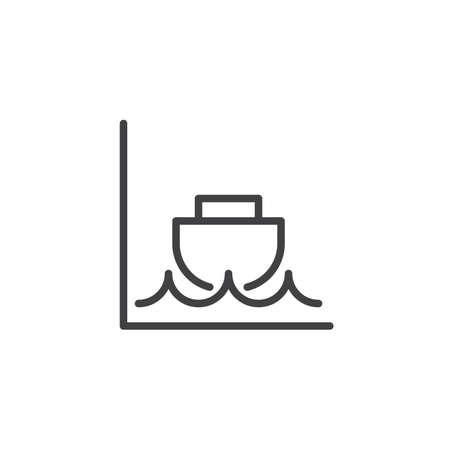 Icona di linea di bassa marea, segno di vettore del profilo, pittogramma di stile lineare isolato su bianco. Simbolo, illustrazione logo. Colpo modificabile
