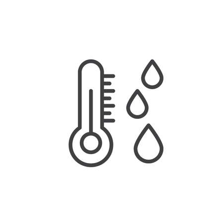Dew point line icon, outline vector sign, linear style pictogram isolated on white.