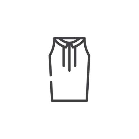Woman blouse line icon, outline vector sign, linear style pictogram isolated on white.