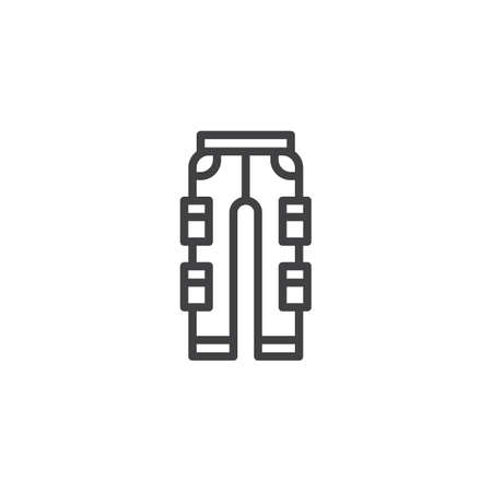 Fashionable pants line icon, outline vector sign, linear style pictogram isolated on white. Symbol, logo illustration. Editable stroke
