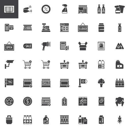 Supermarket shopping products icons set Illustration