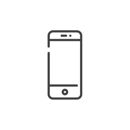 Mobile phone or smartphone line icon, outline vector sign, linear style pictogram isolated on white. Symbol, logo illustration. Editable stroke Illusztráció