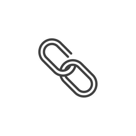 링크 선 아이콘, 개요 벡터 기호, 선형 스타일 픽토그램 화이트 격리. 체인 기호, 로고 그림입니다. 편집 가능한 획