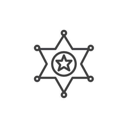 Sheriffs badge line icon, outline vector sign, linear style pictogram isolated on white. Symbol, logo illustration. Editable stroke