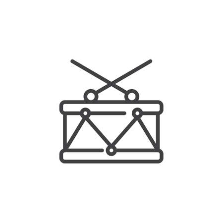 Drum line icon, outline vector sign, linear style pictogram isolated on white. Snare symbol, logo illustration. Editable stroke