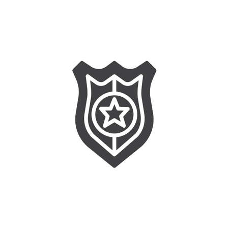 Police badge icon vector, filled flat sign, solid pictogram isolated on white Stock Vector - 87051108