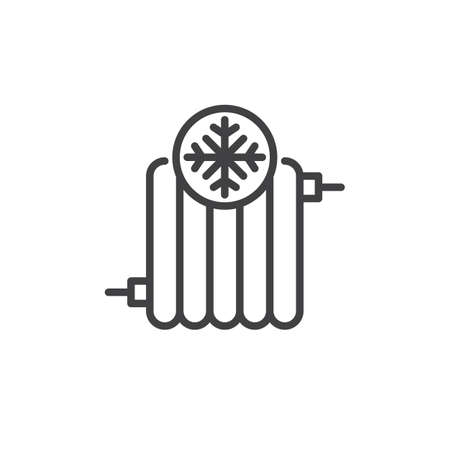 Radiator cold line icon, outline vector sign, linear style pictogram isolated on white. Symbol, logo illustration. Editable stroke Ilustração