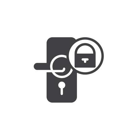 De deur sluit met het vector, gevulde vlakke teken van het hangslotpictogram, stevig pictogram dat op wit wordt geïsoleerd. Symbool, logo illustratie.