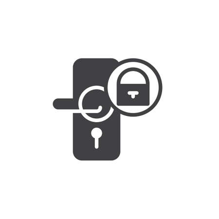 Door close with padlock icon vector, filled flat sign, solid pictogram isolated on white. Symbol, logo illustration.