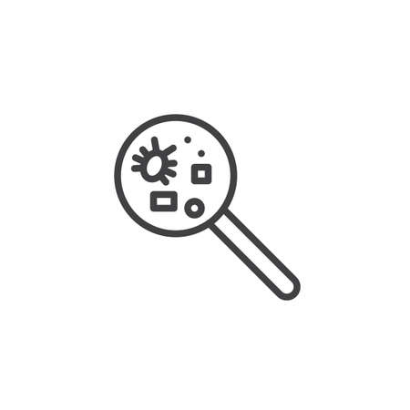Pet disease and magnifying glass line icon Illustration