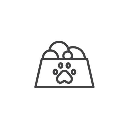 Pet food in bowl line icon, outline vector sign, linear style pictogram isolated on white. Symbol, logo illustration. Editable stroke