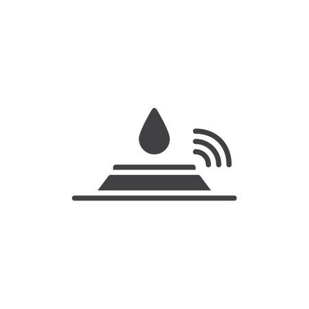 Sensor and water drop icon vector, filled flat sign, solid pictogram isolated on white. Symbol, logo illustration. Ilustração