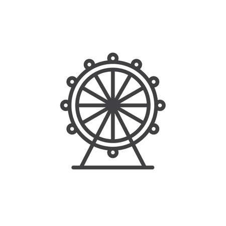 Ferris wheel line icon, outline vector sign, linear style pictogram isolated on white. Symbol, logo illustration. Editable stroke Vettoriali
