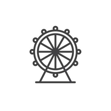 Ferris wheel line icon, outline vector sign, linear style pictogram isolated on white. Symbol, logo illustration. Editable stroke Illustration