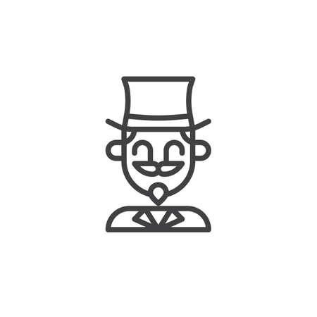Icône de ligne acteur magicien cirque, signe de vecteur de contour, pictogramme de style linéaire isolé sur blanc. Symbole, illustration de logo Trait modifiable Banque d'images - 87437371