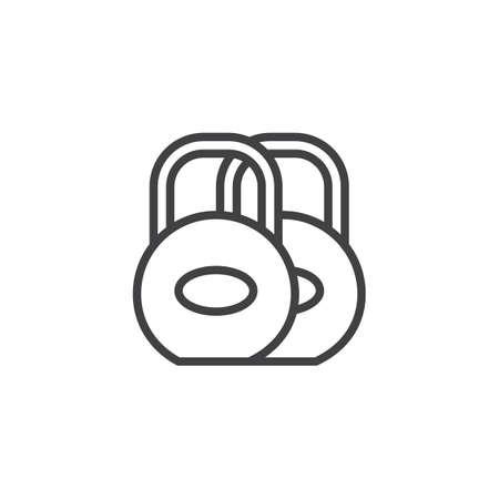 fitness equipment: Dumbbells line icon, outline vector sign, linear style pictogram isolated on white. Symbol, logo illustration. Editable stroke
