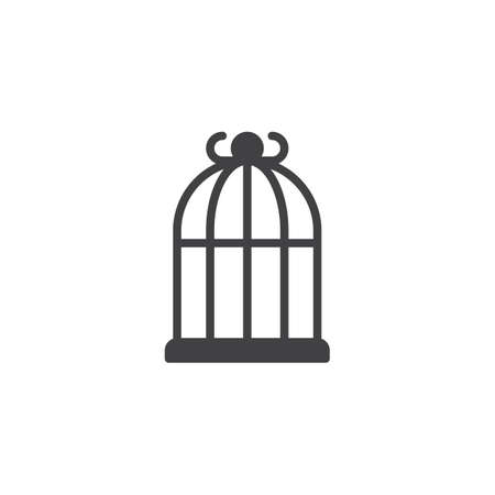 Bird cage icon vector, filled flat sign, solid pictogram isolated on white. Symbol, logo illustration.