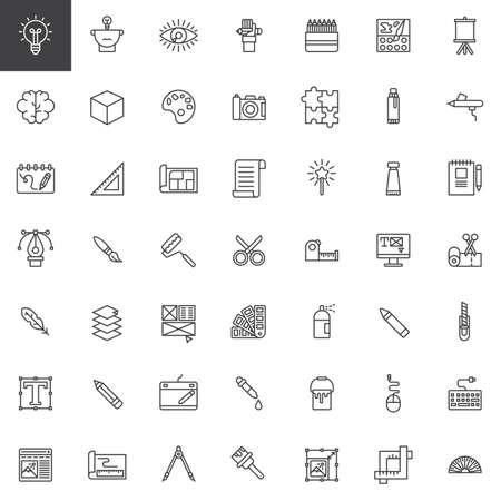 Grafikdesignwerkzeuglinie Ikonen eingestellt, Umrissvektorsymbolsammlung, linearer Artpiktogrammsatz. Zeichen, Logo-Illustration. Das Set enthält Symbole wie Blaupause, Feder, Pantone, Pipette, Webdesign Standard-Bild - 87681361