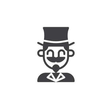 Vecteur d'icône acteur magicien cirque, panneau plat rempli, pictogramme solide isolé sur blanc. Banque d'images - 87709474