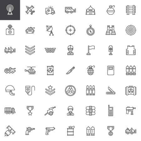 Military equipment line icons set. Illustration