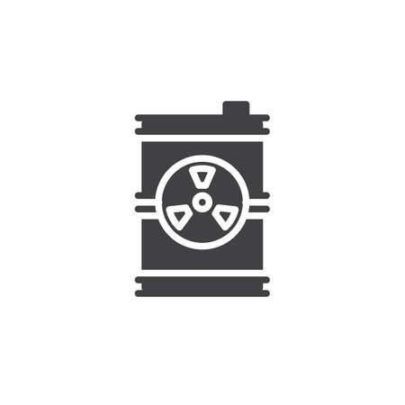 Toxic barrel icon vector, filled flat sign, solid pictogram isolated on white. Radioactive waste symbol, logo illustration.