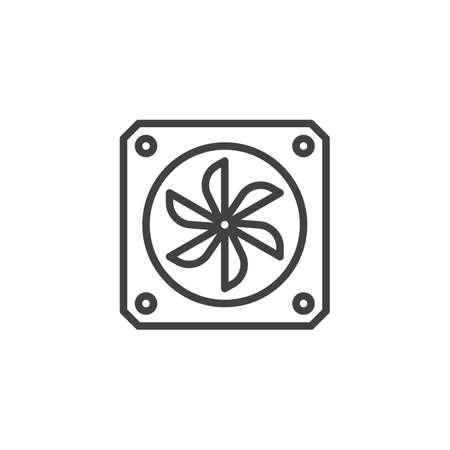 Radiator fan line icon, outline vector sign, linear style pictogram isolated on white. Symbol, logo illustration. Editable stroke
