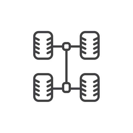 Car chassis line icon. 向量圖像