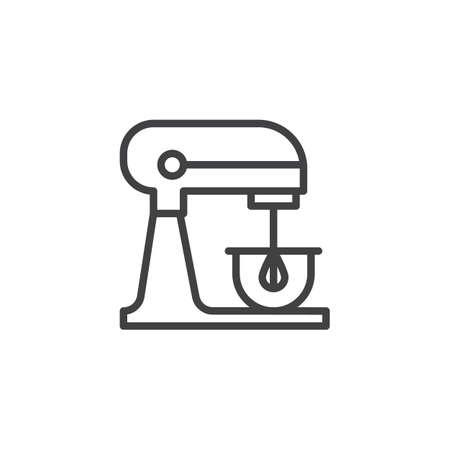 電気スタンド ミキサー ライン アイコン、ベクトル記号の概要線形スタイル ピクトグラム白で隔離。 編集可能なストローク