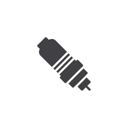 Spark plug icon vector, filled flat sign, solid pictogram isolated on white. Illustration