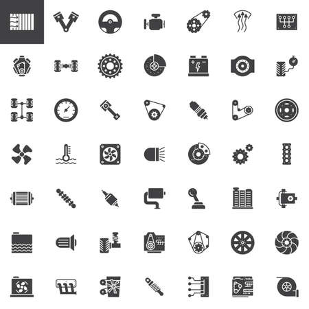 Części samochodowe wektorowe ikony zestaw, kolekcja nowoczesnych stałych symbolu, wypełnione piktogram pakiet. Ilustracja znaków. Zestaw zawiera ikony w postaci silnika, opony, koła zębatego, chłodnicy, zawieszenia, benzyny skrzyni biegów