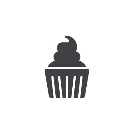 Cream cupcake icon vector, filled flat sign, solid pictogram isolated on white. Symbol, logo illustration.