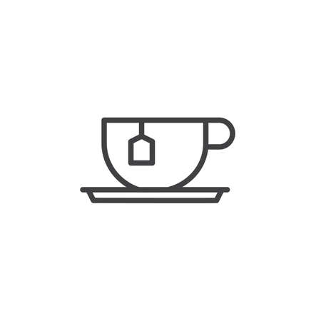 Tea cup with tea bag line icon.