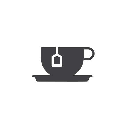 Tea cup with tea bag icon vector, filled flat sign, solid pictogram isolated on white. Symbol, logo illustration. Иллюстрация