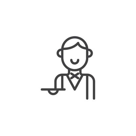 Waiter with tray line icon, outline vector sign, linear style pictogram isolated on white.