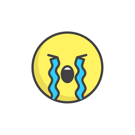 Loudly crying face emoticonfilled outline icon.