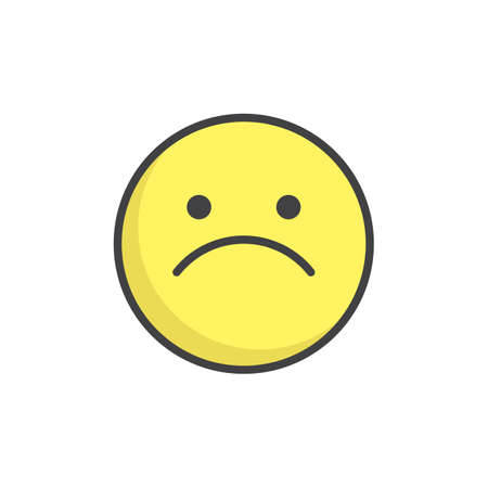 Slightly frowning face emoticon filled outline icon.