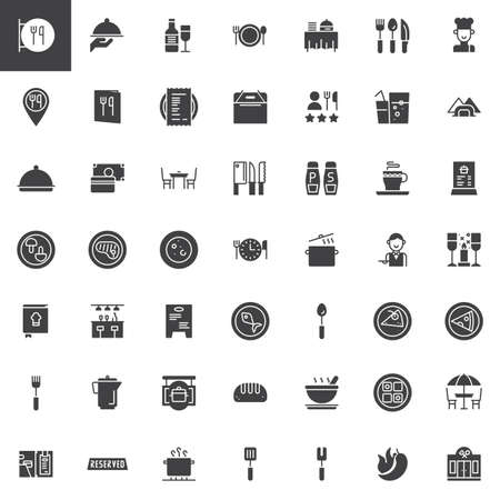 Restaurant café vector icons set, moderne solide symbool collectie, gevuld pictogram pack. Tekens, logo illustratie. Set bevat pictogrammen als restaurantbord, restaurantlocatie, gerechten en eten